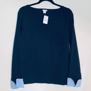 NWT J. Crew Factory | Cuffed Boatneck Top